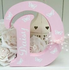 Shabby personalised girls butterflies wooden letter/name sign freestanding gift