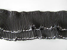 Black Chiffon Ruffle Double Pleated Trim with Silver Edging  Crafts/Costume/Goth