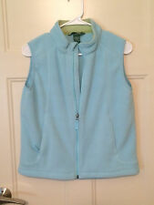 EUC Girls' LL Bean Light Blue Trail Model Fleece Vest sz L 14-16 - Cute!
