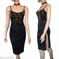 DOLCE & GABBANA D&G rosso rosa V. Stampa Floreale Top gonna sexy dress size 8 4 40