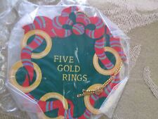 "AVON*THE TWELVE DAYS OF CHRISTMAS ORNAMENTS FIVE GOLD RINGS* ""NIB"" OLD STOCK"