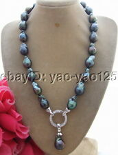 R062006 18'' 18mm Black Bead-Nucleated Pearl Necklace