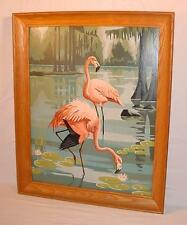 VINTAGE FRAMED PAINT BY NUMBER PAINTING FLAMINGOS EVERGLADES FLORIDA