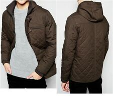 New Look Quilted Jacket in Khaki with Hood S Small   (ca875)