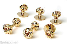 NEW Men's Gold Two Sided Love Knots Cuff Links & Shirt Studs Formal Gift Box Set
