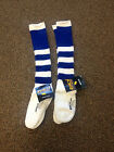 LOT OF (2) BRAND NEW SOUTHERN ATHLETIC STRIPED BLUE/WHITE TUBE SOCKS MEDIUM