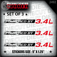 NEW POWERED BY 3.4L DECAL STICKER GRAND AM ACCORD IMPALA VENTURE CAMARO SFI 2492