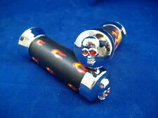 FLAME BLACK AND CHROME SKULL END BICYCLE HANDLEBAR GRIPS LOW RIDER CRUISER