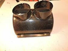 "Crawford Carbon fiber oil cooler cover dual outlets 9.5"" x 8""  LW  NASCAR ARCA"