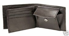 New Mens Bifold Genuine Leather Wallet Zipper Id Window Coin Pocket 756 Brown