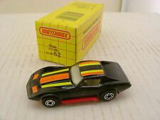 1979 MATCHBOX SUPERFAST #62 BLACK CORVETTE RED SIDE PIPES NEW MIB