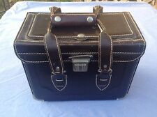 Vintage Homa Brown Leather Camera Bag Hard Case with Green Interior