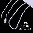 """Wholesale Price 925Sterling Silver Jewelry Snake Chain Necklace 2MM 16""""-24"""" C010"""