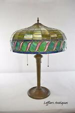 Vintage Leaded Glass Lamp By Miller Lamp CompanyThree Hubbel Sockets