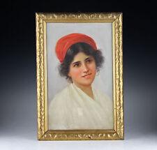 Gemälde Junge Frau von Capri Italien um 1900 Altes Portrait Italy
