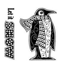 Merry Christmas LET it SNOW PENGUIN acrylic CLEAR unmounted RUBBER STAMP's NEW