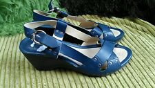CLARK'S STUNNING BLUE  LEATHER SMART WEDGE SANDALS WORN ONCE UK 4.5 D FIT NO BOX