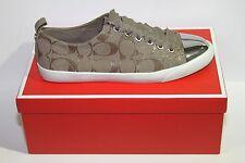 Coach A2599 Makayla 12cm Sig C/Suede Gloss Slate Fashion Sneakers Sz 9.5m NIB