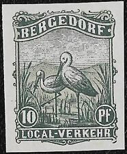 + 1887 Bergedorf Germany Birds Storks 10pf Local Private Post Imperf.MH