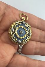 Antique 18 K Gold Enamel Diamonds Masonic Eatern Star Pocket Watch