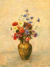 ODILON REDON FRENCH FLOWERS VASE OLD ART PAINTING POSTER PRINT BB6210A