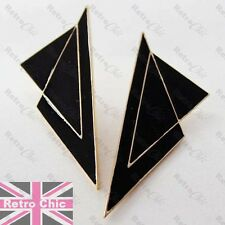 LARGE 8cm BLACK ENAMEL EARRINGS modernist BIG STUD EARRING gold fashion