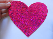 1 large pink love heart patch sequin applique motif iron on sew on uk 14 x 13 cm