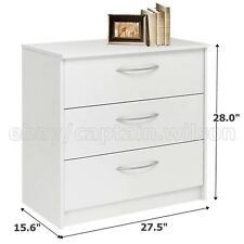 Bedroom Storage Dresser Chest, Nightstand with 3 Drawers White