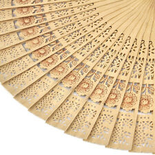 Chinese Folding Bamboo Original Wooden Carved Hand Fan fit Wedding Party Hf