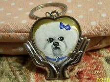 Bichon Frise hand painted special keyring
