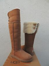 UGG CHESTNUT OVER THE KNEE BAILEY BUTTON SHEEPSKIN BOOTS, US 10/ EUR 41 ~NIB