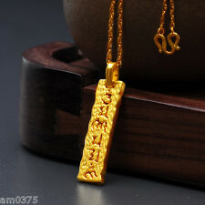 New Authentic 999 24K Yellow Gold Pendant Unisex Bless Maxim Lucky Pendant8*30mm
