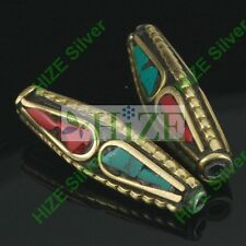 HIZE TBE92 NEPALESE TIBETAN TURQUOISE & CORAL Inlaid Brass 6 Oval Tube Beads 6mm