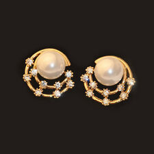 New Pearl Rhinestone Ear Stud Earrings Crystal Stars Gold Plated Women's Fashion