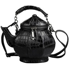 New China Teapot Vintage Women Handbag By Embossing Pu Black Color Portable Bag