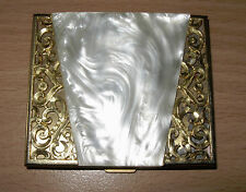 Vintage Marhill Compact Mother Of Pearl Pearloid Gold Filigree Puff & Mirror