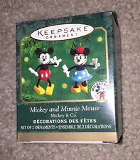 "2000 Hallmark Miniature Ornament ""Mickey and Minnie Mouse"" Wooden MIB"