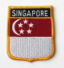 SINGAPORE ASIAN WORLD COUNTRY FLAG EMBROIDERED PATCH 2.5 X 3 INCHES