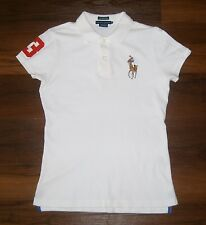 Womens M RALPH LAUREN White Short Sleeve Skinny Polo Shirt Top Big Pony Player 3