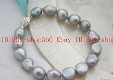 New 8-9mm baroque gray freshwaterCulturred pearl bracelet 7.5''