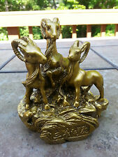 Chinese art collection Lucky Money Wealth 3 goat Statue