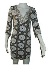 Womens Boden Brown White Gray Floral 3/4 Sleeve Knit Dress sz UK 8 US 4