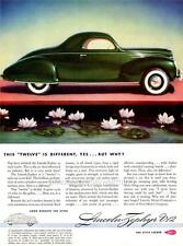 Old Print.  Green 1939 Lincoln-Zephyr Coupe - Automobile