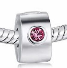 "Silver Plate ""PINK DIAMANTE CLIP"" Crystal Threaded CHARM Bead European Bracelet"