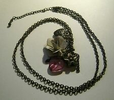 Necklace bronze tone metal chain with pretty charms flowers Hearts pendants