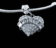 Police charm  fits european style bracelet  (charm only)  cop  Law Enforcement