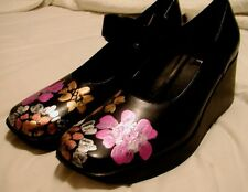 NINE WEST MARY JANE PLATFORMS CREEPERS HAND PAINTED STEAMPUNK SHOES SIZE 10