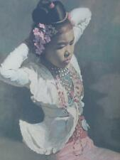 FABULOUS FROST & REED ENGLISH PRINT DATED 1958 BURMESE DANCER IN PINK ORIENTAL