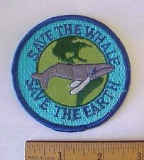 Vintage Save The Whales Save the Earth Embroidered Iron-On World Taiwan Patch