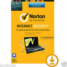 Norton internet security 2016 dernier 1 pc 1 an licence clé d'activation code
